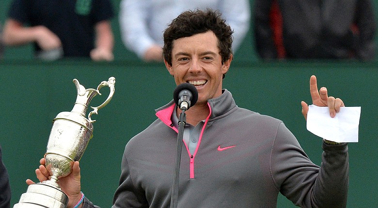 Rory McIlroy after winning his first British Open championship at Royal Liverpool in Hoylake, England.