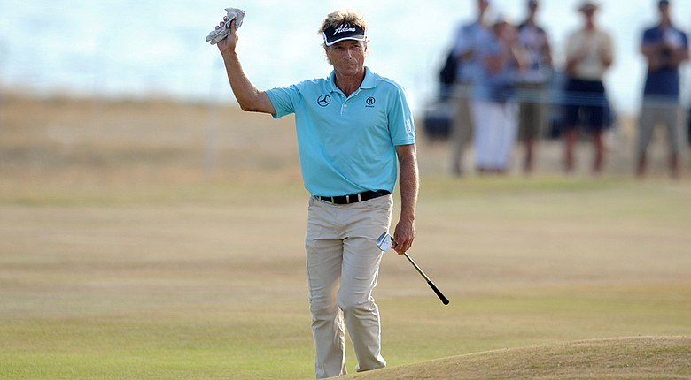 Bernhard Langer opened up an eight-shot lead after 54 holes at the Senior British Open.