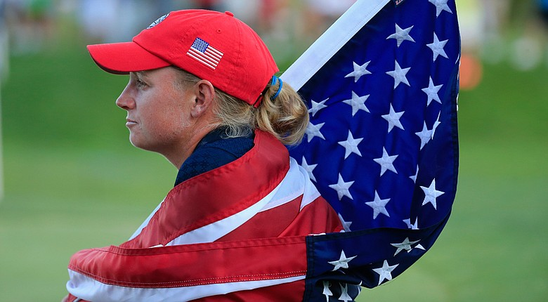 Stacy Lewis looks on as Korea knocked out the United States in a sudden-death playoff at the LPGA's International Crown.