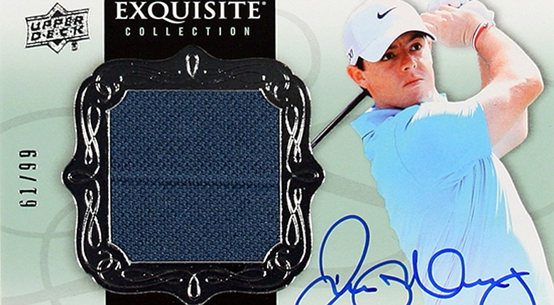 This Upper Deck Exquisite Collection Golf trading card features a swatch of a tournament-worn top of Rory McIlroy's.