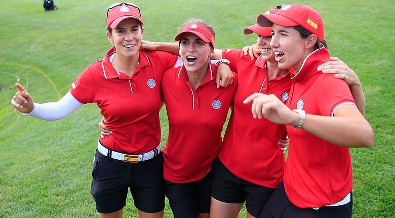 The winning International Crown team of Spain: Azahara Munoz (from left), Belen Mozo, Beatriz Recari and Carlota Ciganda.
