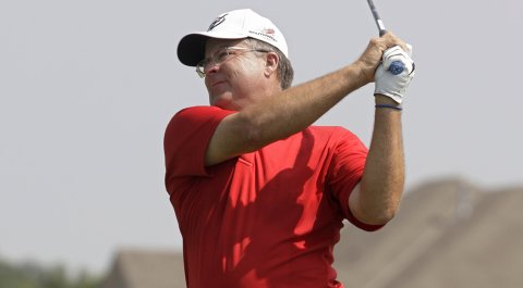 Kenny Perry hits his drive off the first tee during the second round of the Champions Tour's 3M Championship.