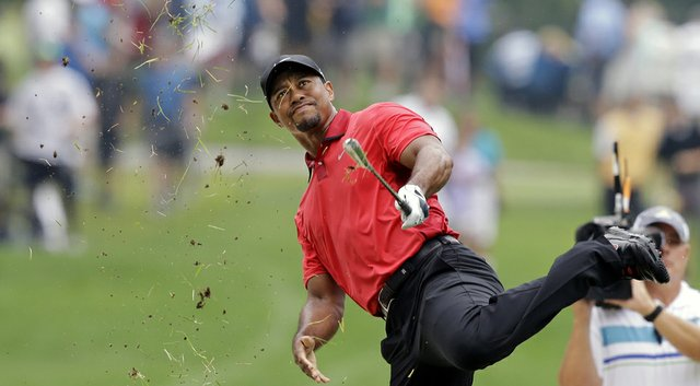 Tiger Woods said after withdrawing with a back injury at the 2014 WGC-Bridgestone Invitational that this swing led to spasms, which eventually forced him to stop play on the ninth hole.