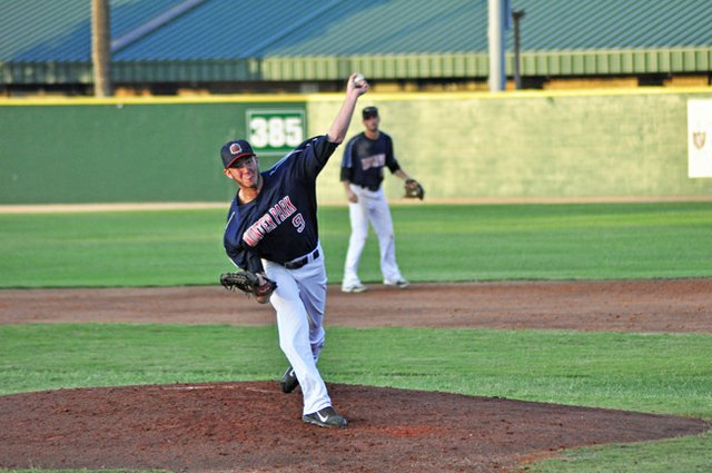 The Winter Park Diamond Dawgs leveraged superior pitching to down the Sanford River Rats in the championship game. The Dawgs' Alex Kline, pictured, struck out four and gave up two runs in his start at Tropicana Field, but didn't get the decision.