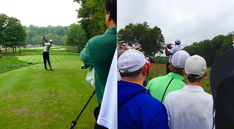 Tiger Woods' tee shot on No. 3 and second shot on No. 5 at the PGA Championship on Friday.