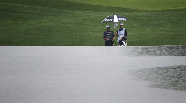 Bubba Watson was frustrated by the rainy weather during the second round of the PGA Championship at Valhalla.