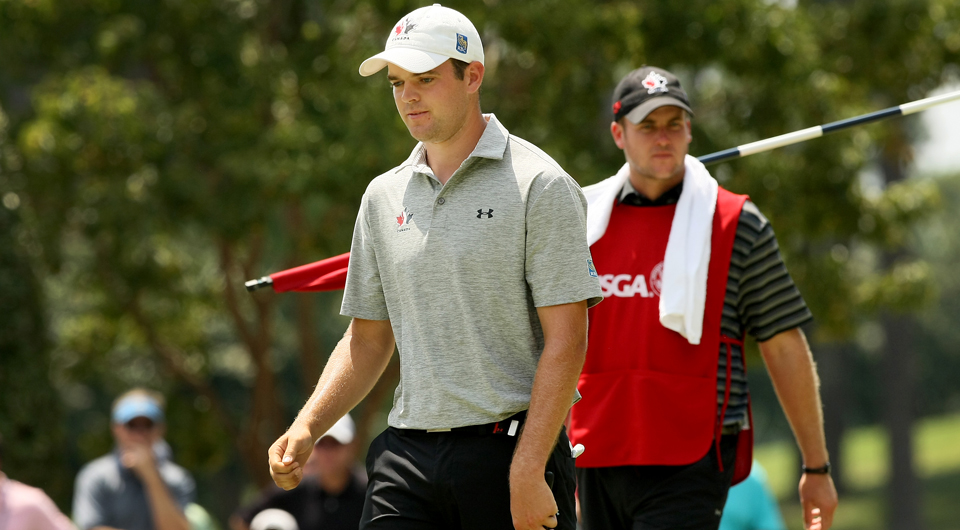 Canadian Corey Conners dispatched of Zachary Olsen on Friday at the U.S. Amateur, now needing only one more victory to secure a spot in the 2015 Masters.