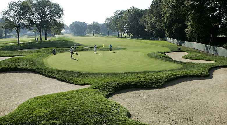 The 13th hole at Ridgewood Country Club in Paramus, N.J., host of The Barclays in the PGA Tour's 2014 FedEx Cup.