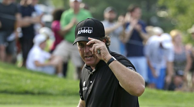 Phil Mickelson improved his FedEx Cup standing but is at risk of missing the Tour Championship (shown here during the PGA Championship).