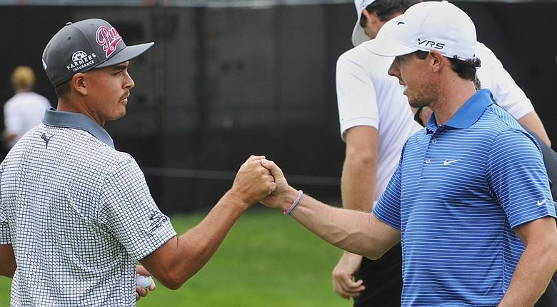 Rickie Fowler and Rory McIlroy are among the favorites at this week's Deutsche Bank Championship on PGA Tour (shown here during the WGC-Bridgestone).