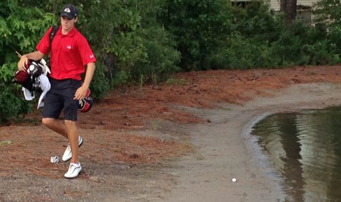 Gardner-Webb's Chris Jones avoids some water during a wet second round at the Golfweek Program Challenge.