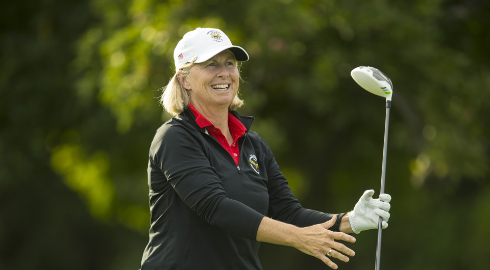 At 2 under for 36 holes, defending champ Ellen Port won medalist honors by nine shots going into match play at the 2014 U.S. Senior Women's Amateur at Hollywood Golf Club in Deal, N.J.