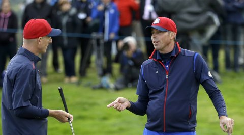 Jim Furyk and Matt Kuchar before the 2014 Ryder Cup at Gleneagles in Scotland.