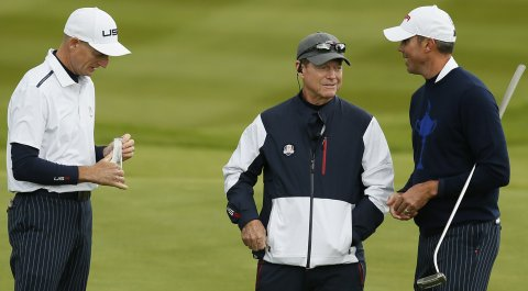 From left: Jim Furyk, Tom Watson and Matt Kuchar at the 2014 Ryder Cup.