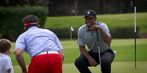 Video: One-armed golfer Morrissey meets Tiger