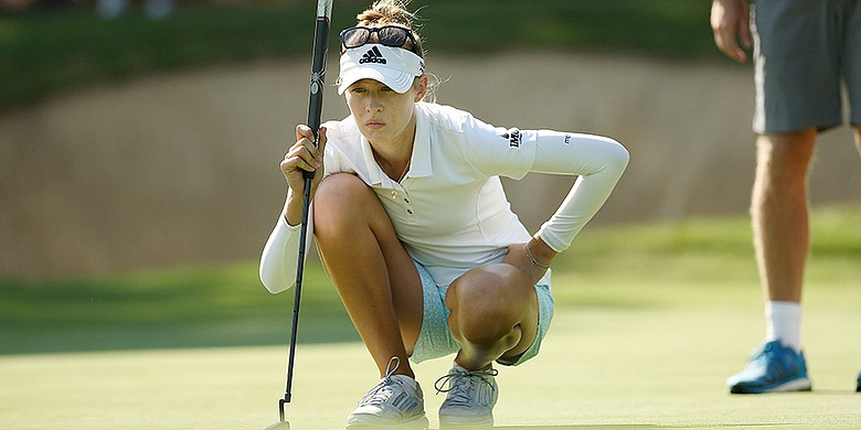 Nelly Korda looks over her putt at No. 18 in the round of 64 during the 2015 U. S. Women's Amateur Championship at Portland Golf Club in Portland, Ore.