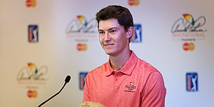 Stanford's McNealy, teenage caddie enjoying the ride at Arnold Palmer Invitational