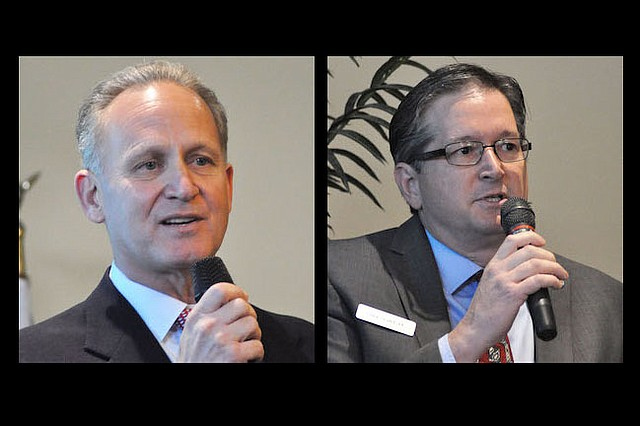 Candidate Wes Naylor, left, and incumbent City Commissioner Greg Seidel will speak at another candidate forum on Wednesday, Feb. 22.