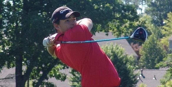 Drew Salyers blasts a drive during his victory at Beavercreek Golf Club.