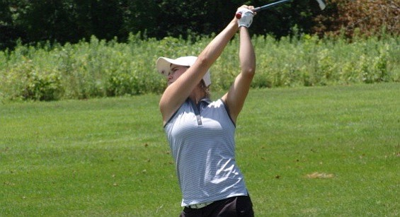Kristin Jamieson hits a shot during her victory at Miami University's Hueston Woods Golf Club.
