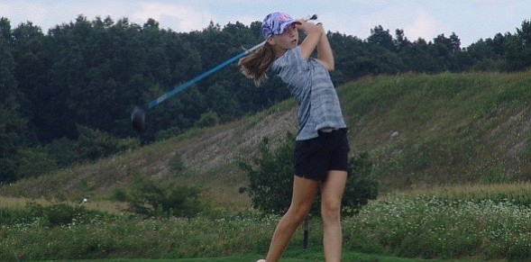 Kary Hollenbaugh hits a shot during her 12-shot victory in the Girls 14-and-Under division at NorthStar.