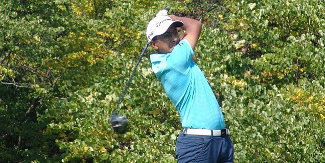 Shawn Sehra hits a drive en route to twin victories at Radrick Farms.