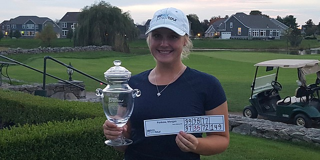 Morgan Pankow displays her trophy after winning the GJT event at the Golf Club of Dublin.