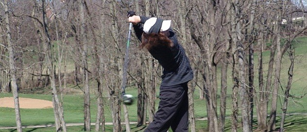 Leila Raines blasts a drive during her victory at the Golf Club of the Bluegrass.