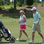Will Grimmer makes Players Am debut with mom on the bag