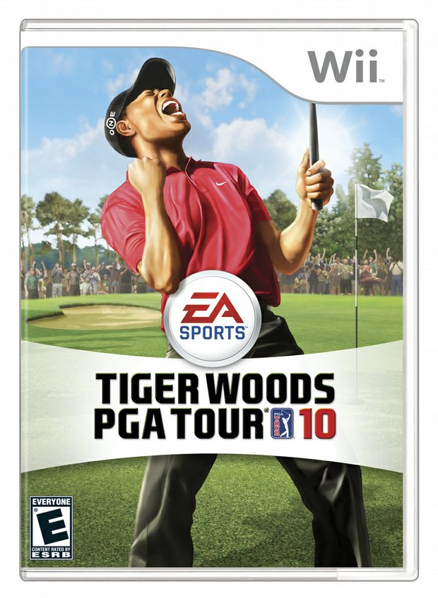 "Cover shot of 'Tiger Woods PGA Tour 2010"" for the Nintendo Wii."