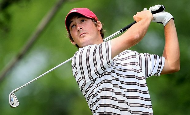 Arkansas' Andrew Landry hits an approach shot at the NCAA Championship.