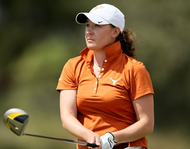 Kristin Walla of University of Texas watches a shot intensely.