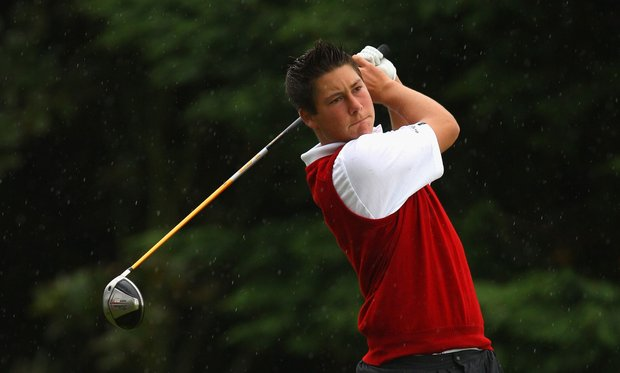 Ben Enoch of Wales tees off on the first hole during the Boys Home Internationals at Royal County Down Golf Club.