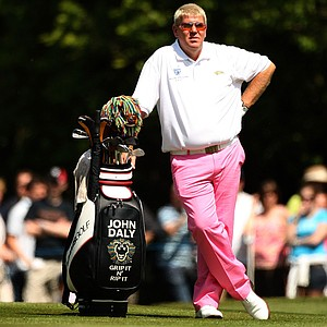 John Daly of the United States waits to play a shot on the 18th hole during the Final Round of the BMW PGA Championship.