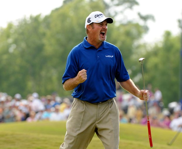 Jerry Kelly reacts to his winning putt at the 18th green during the final round of the Zurich Classic of New Orleans.