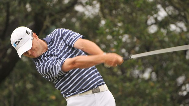 Zach Johnson tees off the 1st hole during the third round of the Valero Texas Open held at La Cantera Golf Club.
