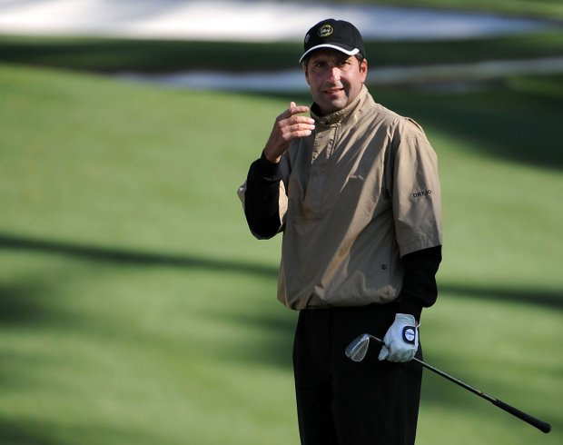 Jose Maria Olazabal of Spain watches a shot during a practice round prior to the 2009 Masters Tournament.
