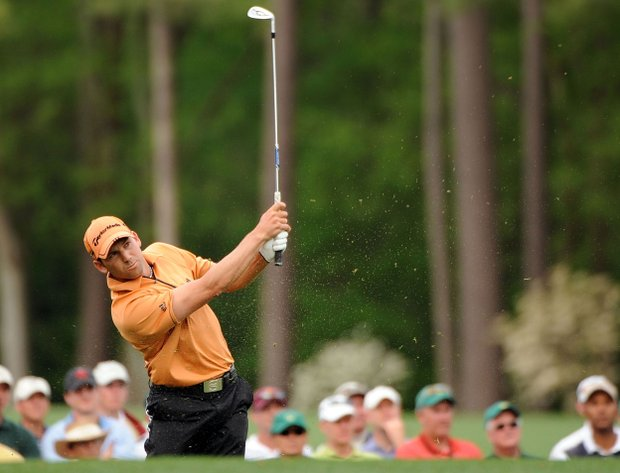 Sergio Garcia hits a shot on the 12th hole during the second round of the 2009 Masters.