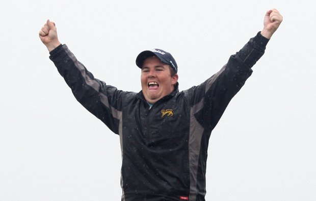 Shane Lowry of Ireland celebrates after winning on the third play-off hole during the final round of The Irish Open.