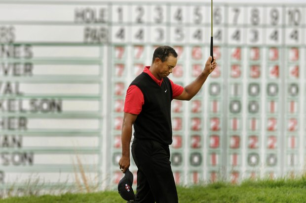 Tiger Woods walks off the 18th green during the final round of the U.S. Open.