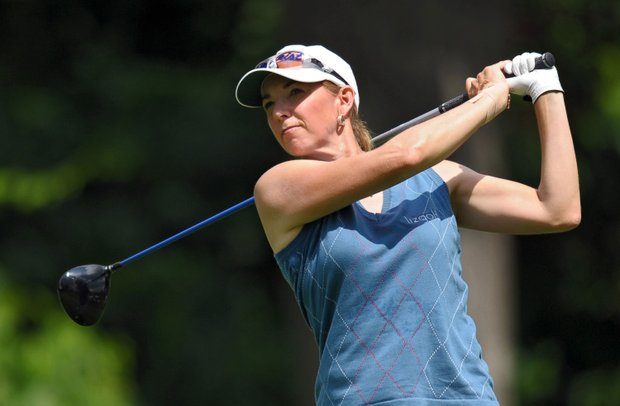 Kris Tschetter hits her tee shot on the second hole during the second round of the McDonald's LPGA Championship.