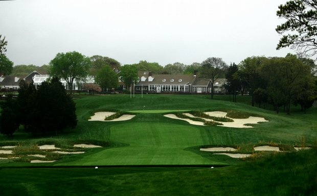 A view of hole no. 18, a 411-yard, par 4, and the clubhouse at The Black Course, site of the 2009 U. S. Open at Bethpage State Park,