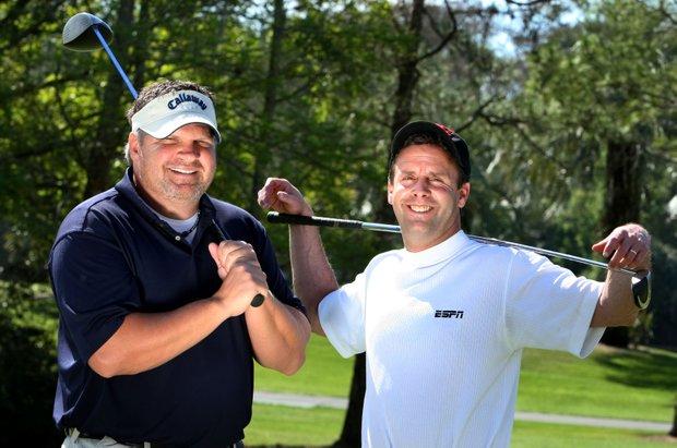 ESPN's John Kruk and Karl Ravech at Disney's Palm Golf Course.