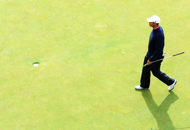 Tiger Woods during the practice round of the 138th Open Championship.