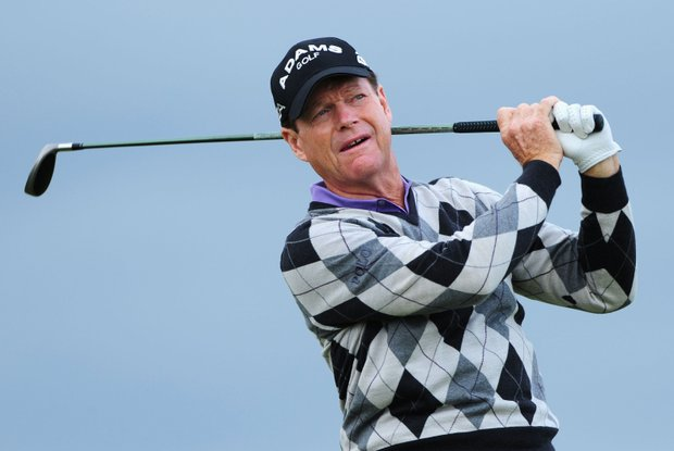 Tom Watson tees off during round one of the 138th Open Championship at Turnberry.