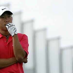 Anthony Kim stands on the 15th tee, on the first day of the 138th British Open Championship.
