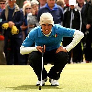Matteo Manassero of Italy in action during The Amateur Championship Quarter Final match against Tommy Fleetwood.