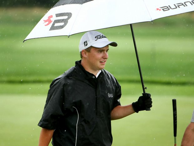 Yarolslav Merkulov in the rain during Thursday match play of the 62nd U. S. Junior Amateur Championship.
