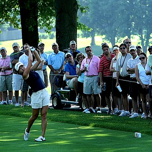 St. Louis, MO--08/09/09--Jennifer Song hits her tee shot at no. 15 during the finals of the 109th U. S. Women's Amateur Championship at Old Warson Country Club in St. Louis, MO.--(Photo by Tracy Wilcox/GOLFWEEK)