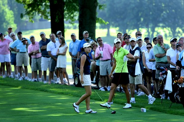 St. Louis, MO--08/09/09--Jennifer Song and Jennifer Johnson at no. 15 tee during the finals of the 109th U. S. Women's Amateur Championship at Old Warson Country Club in St. Louis, MO.--(Photo by Tracy Wilcox/GOLFWEEK)